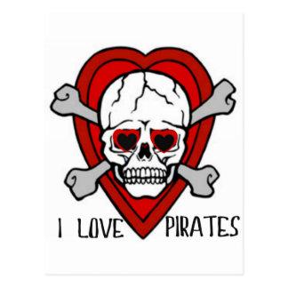 I LOVE PIRATES SKULL AND CROSSBONES HEART TATTOO POSTCARD