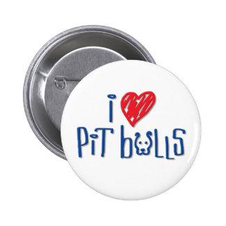 I Love Pit Bulls 6 Cm Round Badge