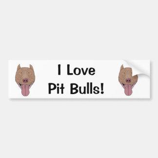 I Love Pit Bulls! - Smiling Pit Bull Portrait Bumper Sticker