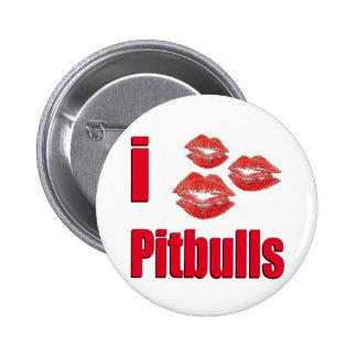 I Love Pitbull Dogs, Lipstick Kisses Crazy 6 Cm Round Badge