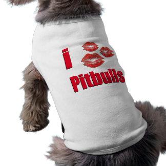 I Love Pitbull Dogs, Lipstick Kisses Crazy Sleeveless Dog Shirt