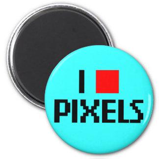 I Love Pixels Dark 6 Cm Round Magnet
