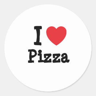 I love Pizza heart T-Shirt Classic Round Sticker
