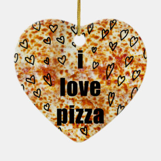 I love pizza/Pizza loves me Ceramic Heart Decoration