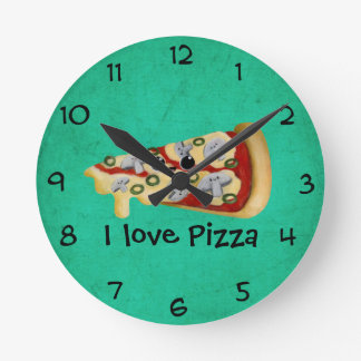 I love Pizza Round Clock
