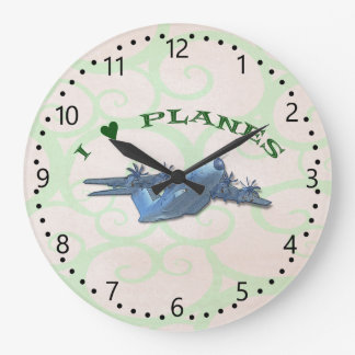 I Love Planes - Atlas Aircraft - minute marks Large Clock