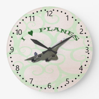 I Love Planes - Concorde Large Clock