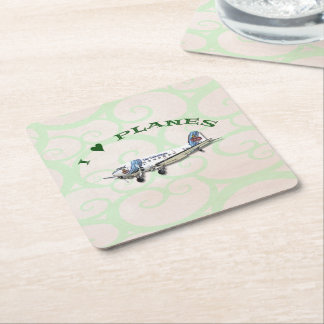 I Love Planes - Dakota DC3 Square Paper Coaster
