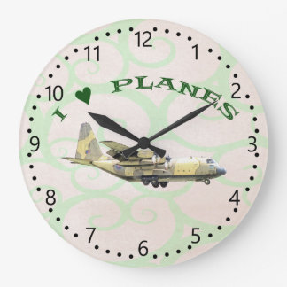 I Love Planes - Hercules Aircraft Large Clock