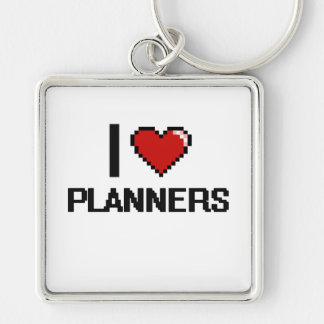 I love Planners Silver-Colored Square Key Ring