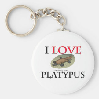 I Love Platypus Basic Round Button Key Ring