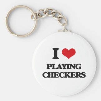 I love Playing Checkers Basic Round Button Keychain