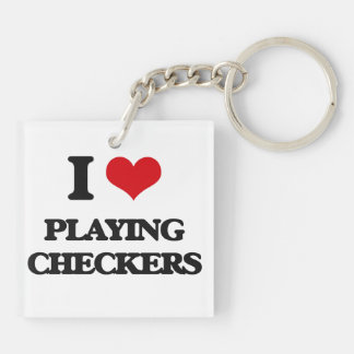 I love Playing Checkers Double-Sided Square Acrylic Keychain