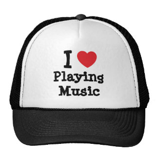 I love Playing Music heart custom personalized Trucker Hats