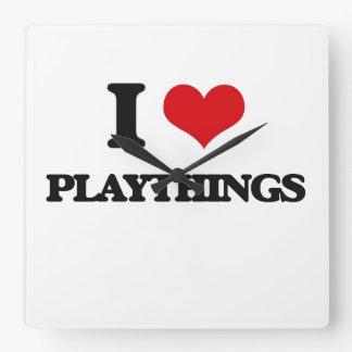 I Love Playthings Square Wall Clock
