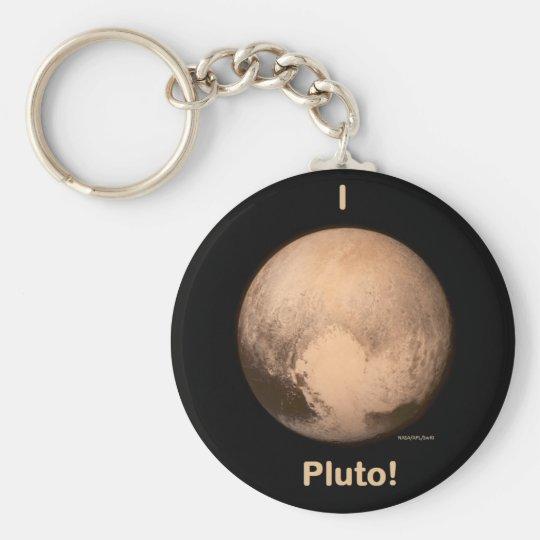 I love Pluto Basic Round Button Key Ring