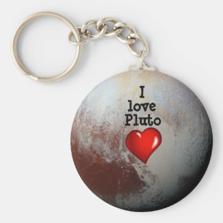 I love Pluto red heart Basic Round Button Key Ring