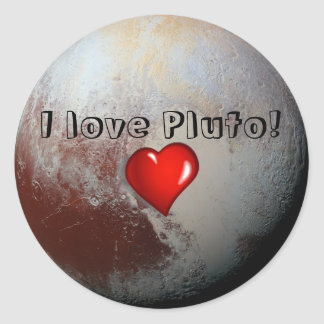 I love Pluto red heart Classic Round Sticker