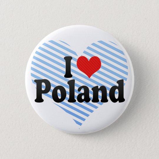 I Love Poland 6 Cm Round Badge