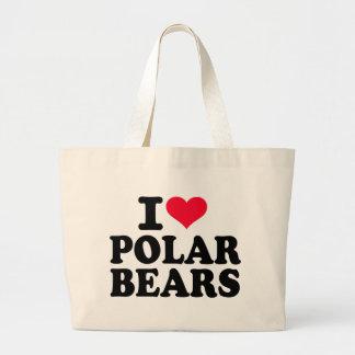 I love Polar bears Large Tote Bag