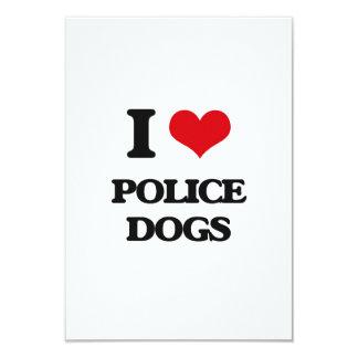 I love Police Dogs 3.5x5 Paper Invitation Card