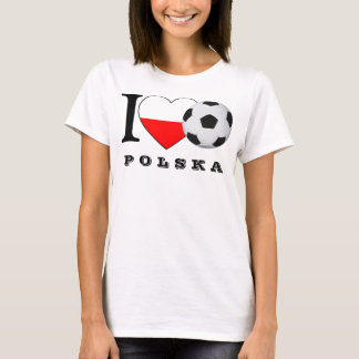 """I love Polska Soccer"" football heart Poland Heart T-Shirt"