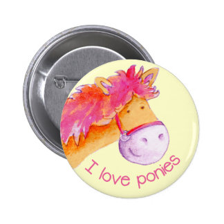 I love ponies button badge pink & yellow 2 inch round button
