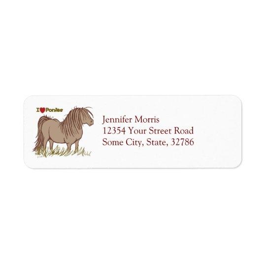 I Love Ponies Return Address Label
