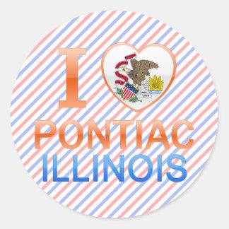 I Love Pontiac, IL Round Stickers