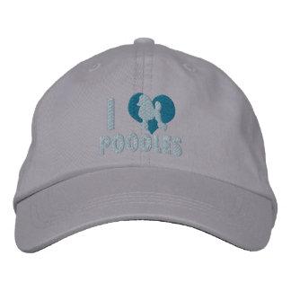 I Love Poodles Embroidered Hat (Blue)