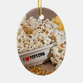 I Love Popcorn Christmas Ornament