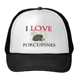 I Love Porcupines Mesh Hats