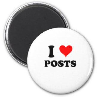 I Love Posts 6 Cm Round Magnet