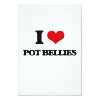 """I love Pot Bellies 3.5"""" X 5"""" Invitation Card"""