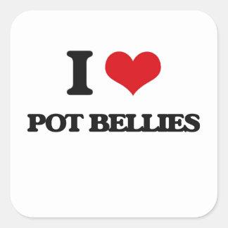 I love Pot Bellies Square Sticker
