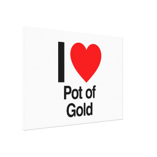 i love pot of gold stretched canvas print