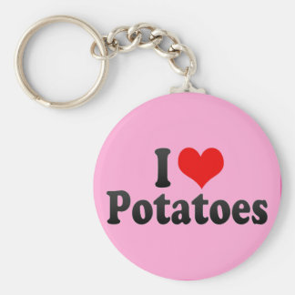 I Love Potatoes Basic Round Button Key Ring