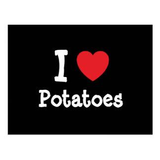 I love Potatoes heart T-Shirt Postcard