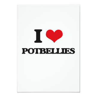 I Love Potbellies 13 Cm X 18 Cm Invitation Card