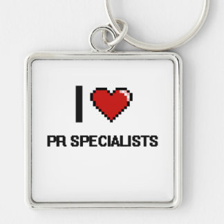 I love Pr Specialists Silver-Colored Square Key Ring