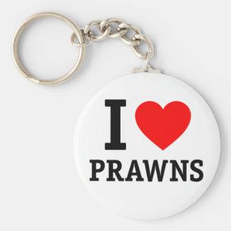 I Love Prawns Basic Round Button Key Ring