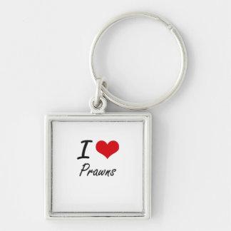 I Love Prawns Silver-Colored Square Key Ring