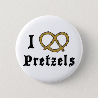 I Love Pretzels 6 Cm Round Badge