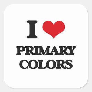 I Love Primary Colors Square Sticker