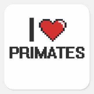 I love Primates Digital Design Square Sticker
