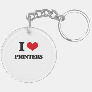 I Love Printers Double-Sided Round Acrylic Keychain