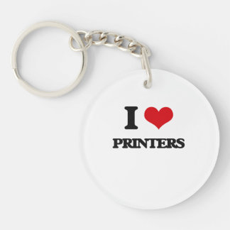 I love Printers Single-Sided Round Acrylic Key Ring