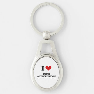 I Love Prior Authorization Silver-Colored Oval Keychain
