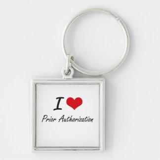 I Love Prior Authorization Silver-Colored Square Key Ring