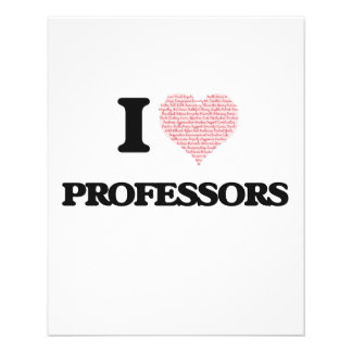 I love Professors (Heart made from words) 11.5 Cm X 14 Cm Flyer